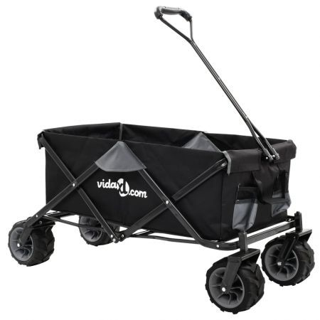 Folding Hand Trolley Metal Grey and Black