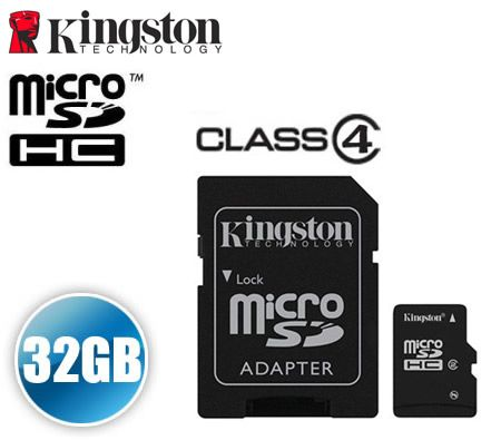 FREE SHIPPING! Kingston 32GB Micro SD SDHC MicroSDHC MicroSD High Capacity Memory Card 32G 32 GB with MicroSD Adapter Class 4