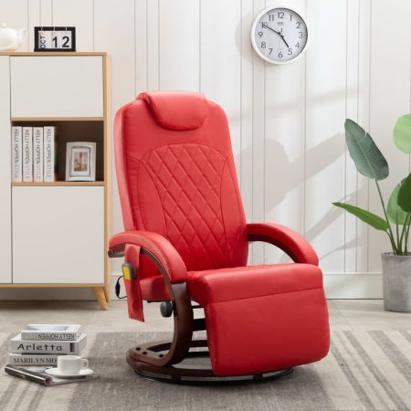 TV Massage Recliner Red Faux Leather