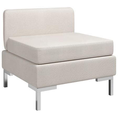 Sectional Middle Sofa with Cushion Fabric Cream