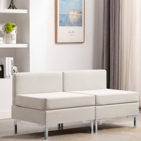 Sectional Middle Sofas 2 pcs with Cushions Fabric Cream