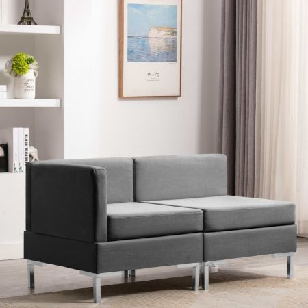 Sectional Corner and Middle Sofas with Cushions Fabric Light Grey