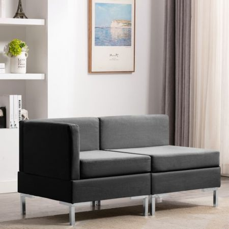 Sectional Corner and Middle Sofas with Cushions Fabric Dark Grey