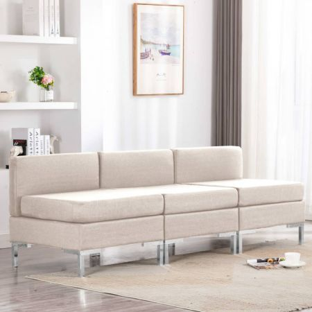 Sectional Middle Sofas 3 pcs with Cushions Fabric Cream