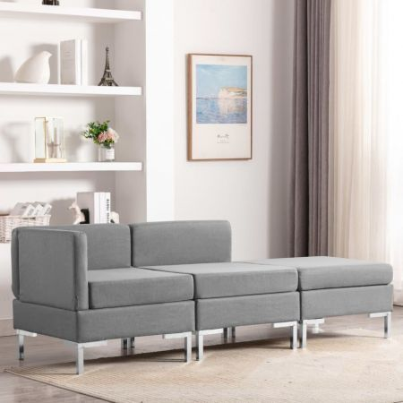 3 Piece Sofa Set Fabric Light Grey