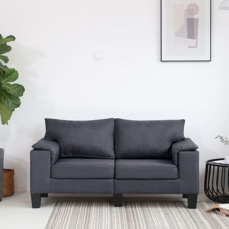 2-Seater Sofa Dark Grey Fabric