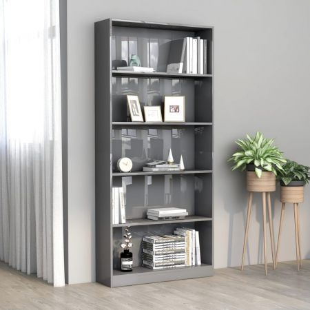 5-Tier Book Cabinet High Gloss Grey 80x24x175 cm Chipboard