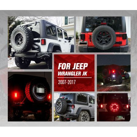 LIGHTFOX CREE LED Tail Lights Smoked Lens Reverse Turn for 07-17 Jeep Wrangler JK