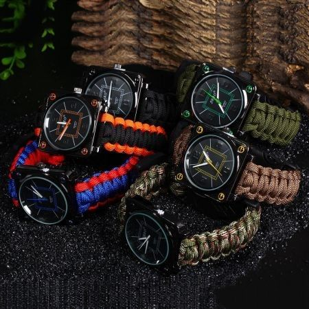 Multifuctional Survival Paracord Bracelet Watch with Compass Flint Fire Starter Scraper Whistle Gear