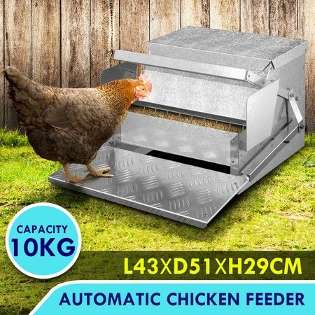 10KG Automatic Chicken Feeder Poultry Trough Spill-Proof Galvanised Steel