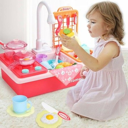 Kitchen Sink washing dishes Toys with Play Cooking Stove, Pot and Pan with Spray Realistic