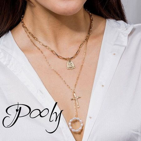 Pony Multilayer Chain Gold Plated Necklaces