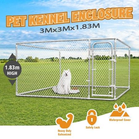 Heavy-duty Steel Dog Kennel Run 3x3m Pet Enclosure Animal Fence
