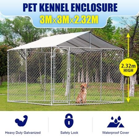 3x3x2.32m Dog Kennel Pet Enclosure Run with Waterproof Fabric Cover