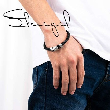 Striegel Design Your Own Mens Black Braid Bracelet up to 5 beads