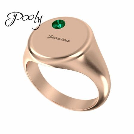 Poly Design Your Own birthstone Engrave Ring