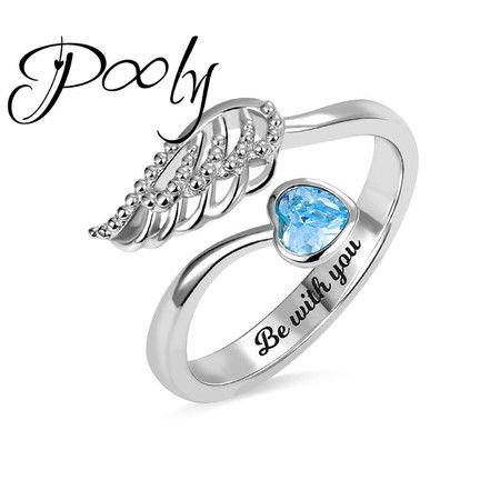 Poly Design Your Own birthstone Engrave Angel Ring
