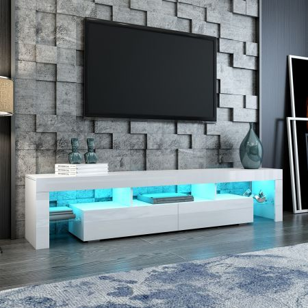 200cm TV Stand Cabinet 2 Drawers LED Entertainment Unit Wood Storage