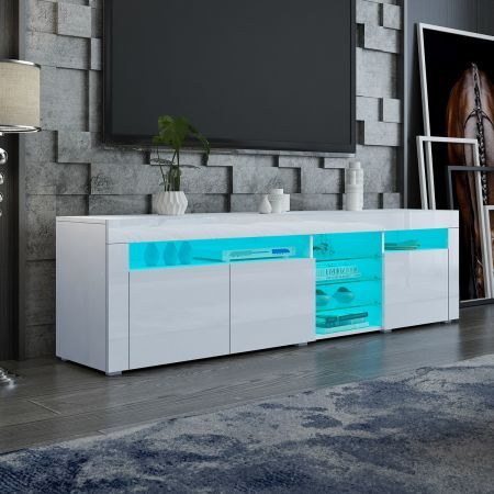 180cm TV Stand Wood Entertainment Unit High Gloss Front Cabinet with RGB LED White