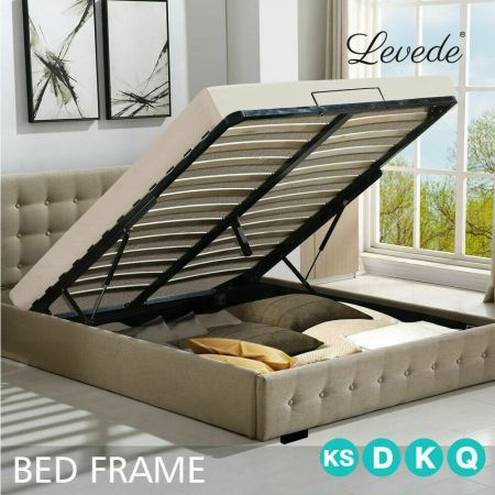 Levede Bed Frame Base With Gas Lift Queen Size Platform Fabric