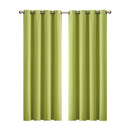 2x Blockout Curtains Panels 3 Layers Eyelet Room Darkening 180x230cm Avocado