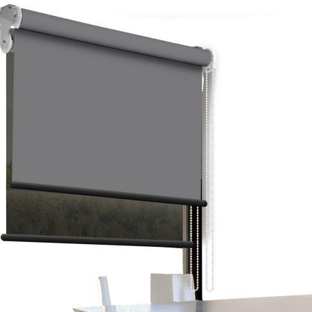 Modern Day/Night Double Roller Blind Commercial Quality 120x210cm Charcoal Black