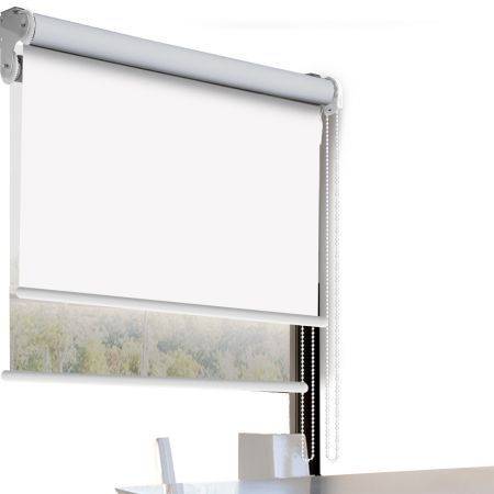 Modern Day/Night Double Roller Blinds Commercial Quality 150x210cm White White