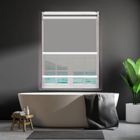 Modern Day/Night Double Roller Blind Commercial Quality 180x210cm Albaster White
