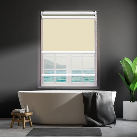Modern Day/Night Double Roller Blinds Commercial Quality 240x210cm Cream White