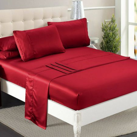 DreamZ Ultra Soft Silky Satin Bed Sheet Set in Single Size in Burgundy Colour