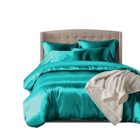 DreamZ Silk Satin Quilt Duvet Cover Set in Double Size in Teal Colour