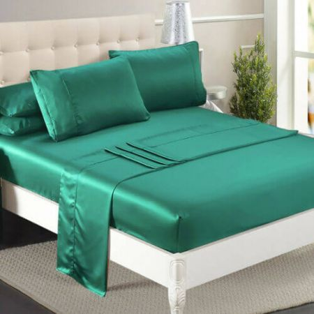 DreamZ Ultra Soft Silky Satin Bed Sheet Set in Single Size in Teal Colour