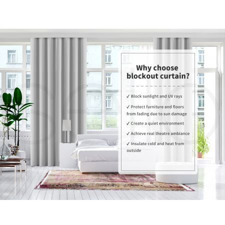 2x Blockout Curtains Panels 3 Layers Eyelet Room Darkening 132x160cm Grey