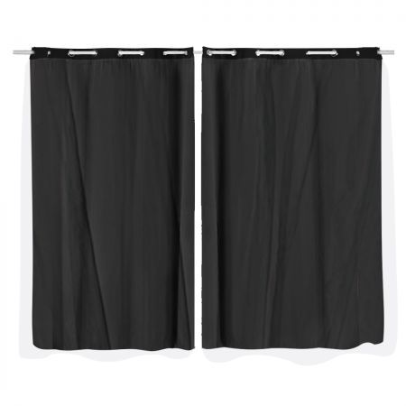 2x Blockout Curtains Panels 3 Layers with Gauze Room Darkening 140x230cm Black