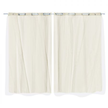 2x Blockout Curtains Panels 3 Layers with Gauze Room Darkening 140x230cm Sand