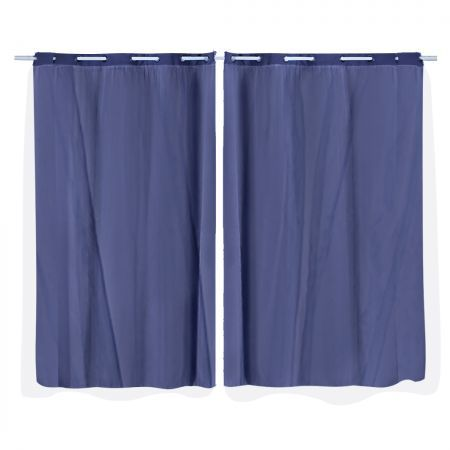 2x Blockout Curtains Panels 3 Layers with Gauze Room Darkening 140x244cm Navy