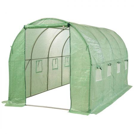 Greenhouse Plastic Film Shed Walk in Outdoor Garden Green House Tunnel Frame
