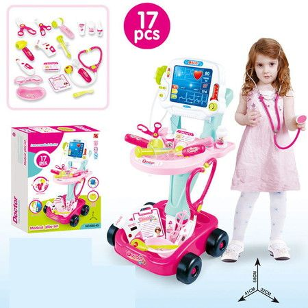 Pretend Play Doctor Toys Medical Playset Trolley Electrocardiogram Cart 17pcs