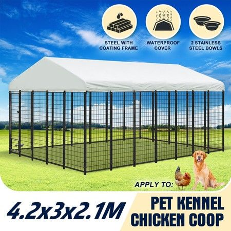 Galvanised Steel Dog Kennel Enclosure Pet Playpen Fence with Fabric Cover 4.2x3x2.1M