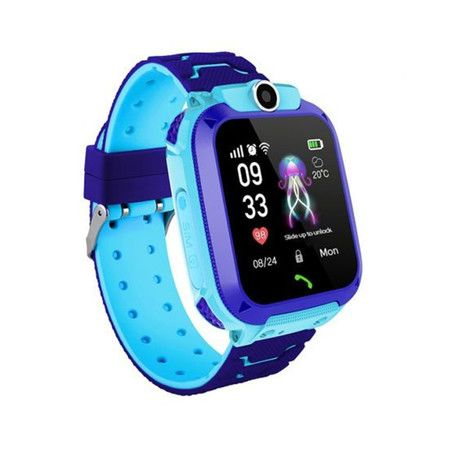 Q12B 1.44 inch Touch Screen Kids Smart Phone Watch Front-facing Camera Safety Zone Alarm -blue