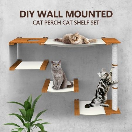 Floating Multi-Level Cat Shelves Sisal Scratching Post Wall Mounted Cat Perch Set