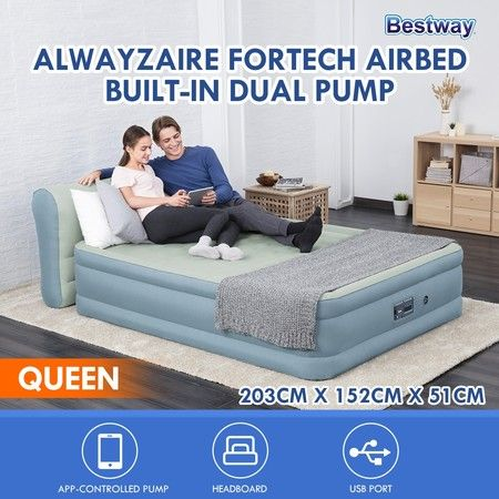 Bestway AlwayAire Air Bed 51cm Inflatable Mattress with Built-in APP AC Pump - Queen Size