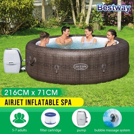 Bestway St.Moritz AirJet Hot Spa Inflatable Pool 5-7 Adults 2.16m x 71cm