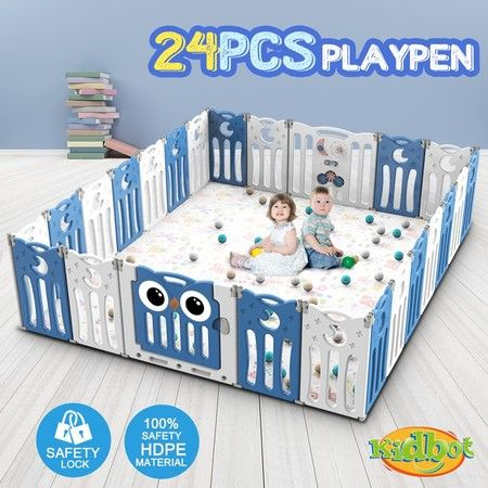 Kidbot 24 Panel Baby Safety Gate Baby Playpen Fence Child Gate Enclosure Owl Design