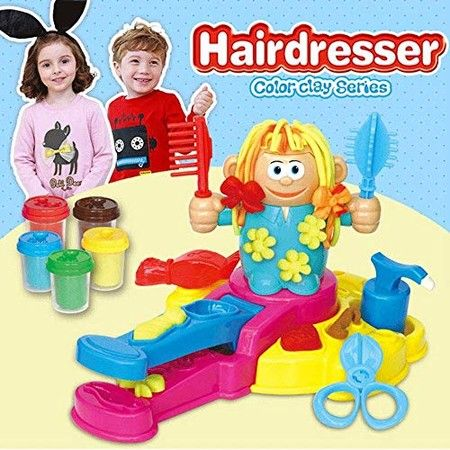 Hairdresser Play Dough Barber Colour Clay Dough and Molds Toys for 4years+