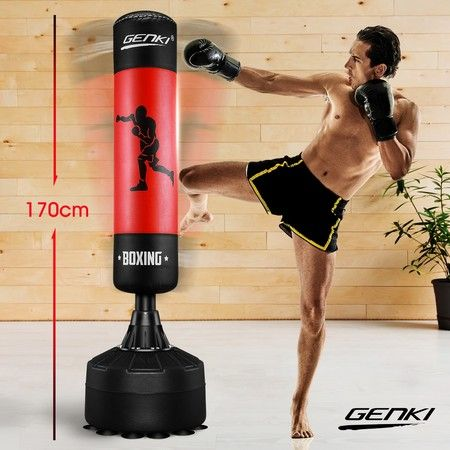 Genki Free Standing Punching Bag Boxing Stand Kicking Workout MMA UFC Training Gear Red