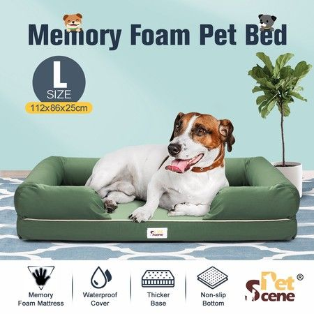 Petscene Large Memory Foam Dog Bed Couch Sofa with Oxford Fabric Cover