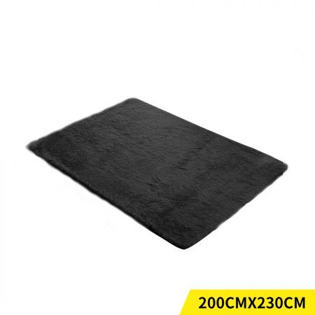 Designer Soft Shag Shaggy Floor Confetti Rug Carpet Home Decor 200x230cm Black