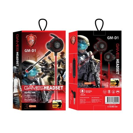 Game Earphone with Dual Mics 3.5mm Universal Wired In-Ear Earphone Noise Reduction col.Red