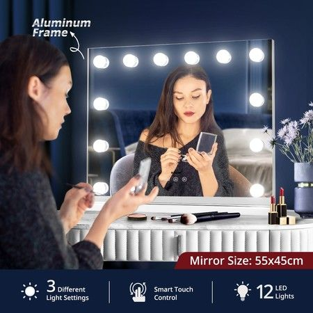 Maxkon Hollywood Style Makeup Mirror Lighted Vanity Mirror with 12 LED Lights